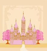 魔法のおとぎ話の王女の城 — ストックベクタ