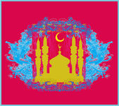 Fond de ramadan - carte de mosquée silhouette vecteur — Vecteur