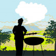Man cooking on his barbecue Invitation — Stock Vector