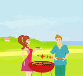 Barbecue Party - cook and girl — Stock Vector