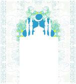Ramadan achtergrond - moskee silhouet vector kaart — Stockvector