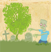 Zombie coming out of his grave — Stock Vector