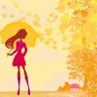 Stock Vector: Stylish woman with umbrella