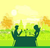 Mladý pár flirtovat a pít šampaňské — Stock vektor