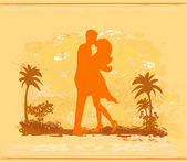 Silhouette par kyssas på tropisk strand — Stockvektor