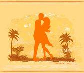 剪影情侣接吻热带海滩上 — 图库矢量图片