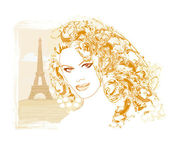 Beautiful women Shopping in Paris - vector card — Stockvektor