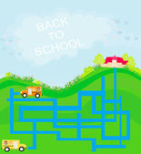 Back to school - maze — Stock Vector