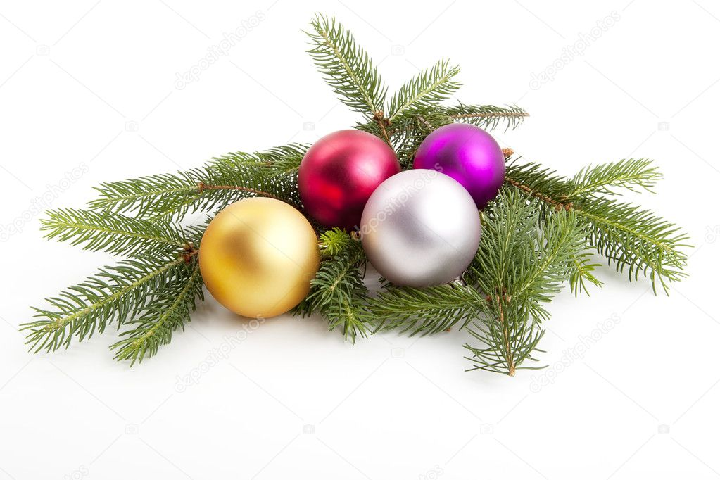 Traditional christmas tree decoration isolated on white background — Stock Photo #10872436