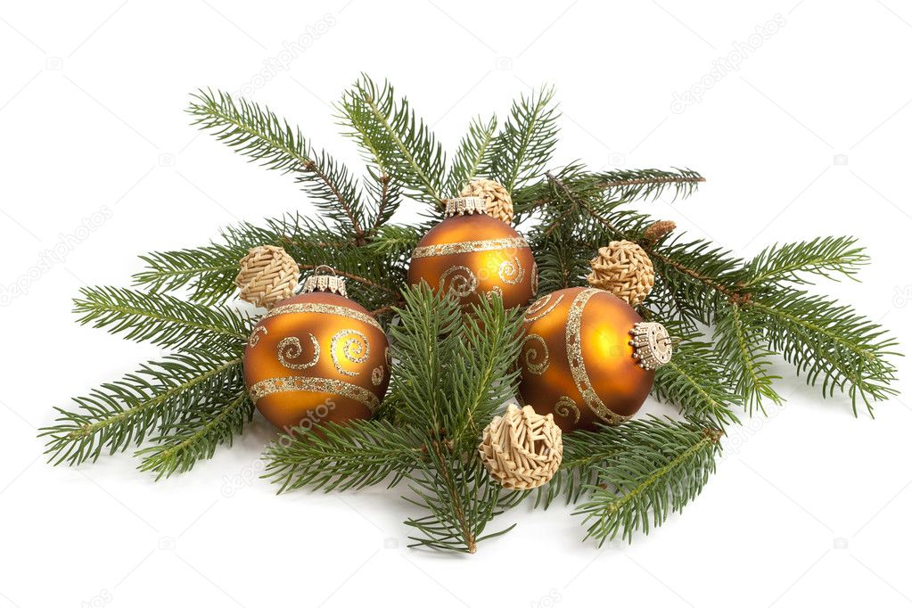 Traditional christmas tree decoration isolated on white background — Stock Photo #10872438