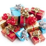 colorfull presente presente com fitas brilhantes isoladas — Foto Stock