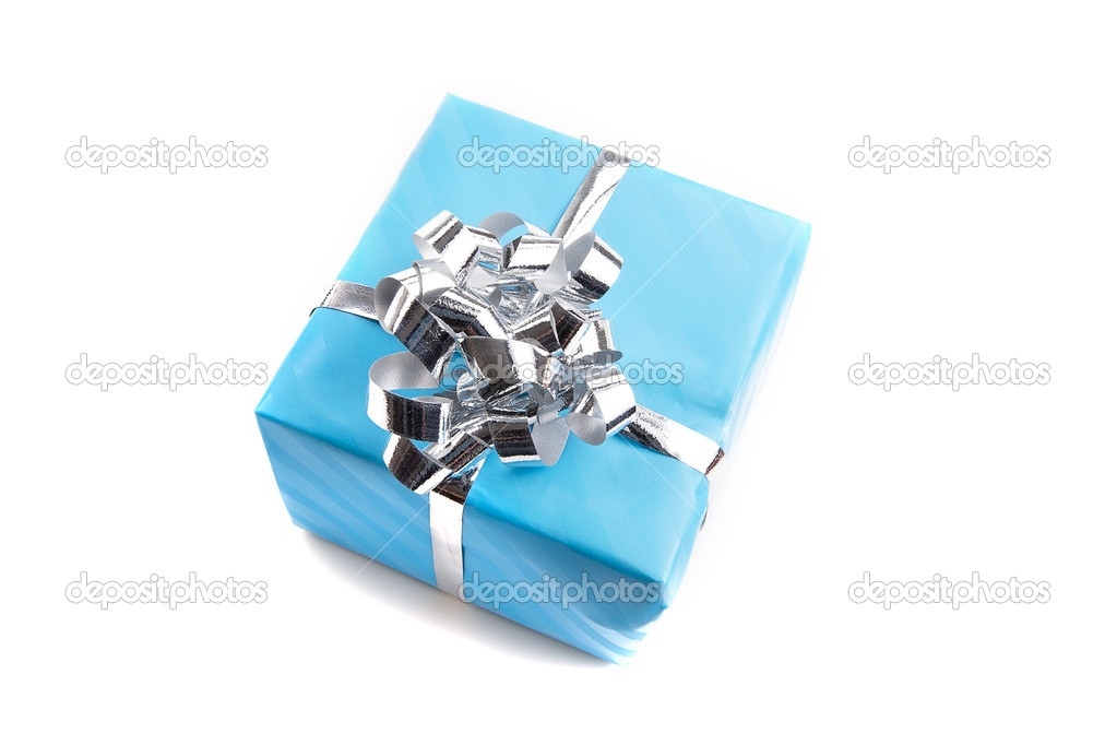 Colorfull gift present with shiny ribbons isolated on white background — Foto Stock #11079952