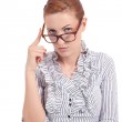 Young succssesful woman with glasses natural look — Stock Photo
