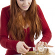 Young woman is packing present for christmas isolated — Stock Photo #11598278