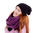 Young beautiful woman with hat gloves and scarf in winter isolated — Stock Photo #11598539