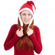Smiling young woman at christmastime in red clothes isolated — Stock Photo #11598715