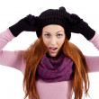 Young beautiful woman with hat gloves and scarf in winter isolated — Stock Photo