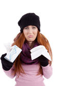 Woman with tissue and spray feels unwell with flu — Stock Photo