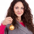 Beautiful brunette smiling woman with christmas decoration — Stock Photo