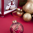Beautiful christmas decoration in gold and red color - Stock Photo