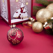 Beautiful christmas decoration in gold and red color — Stock Photo