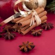Christmas decoration red apple, cinnamon, anise and tree on red background — Stock Photo