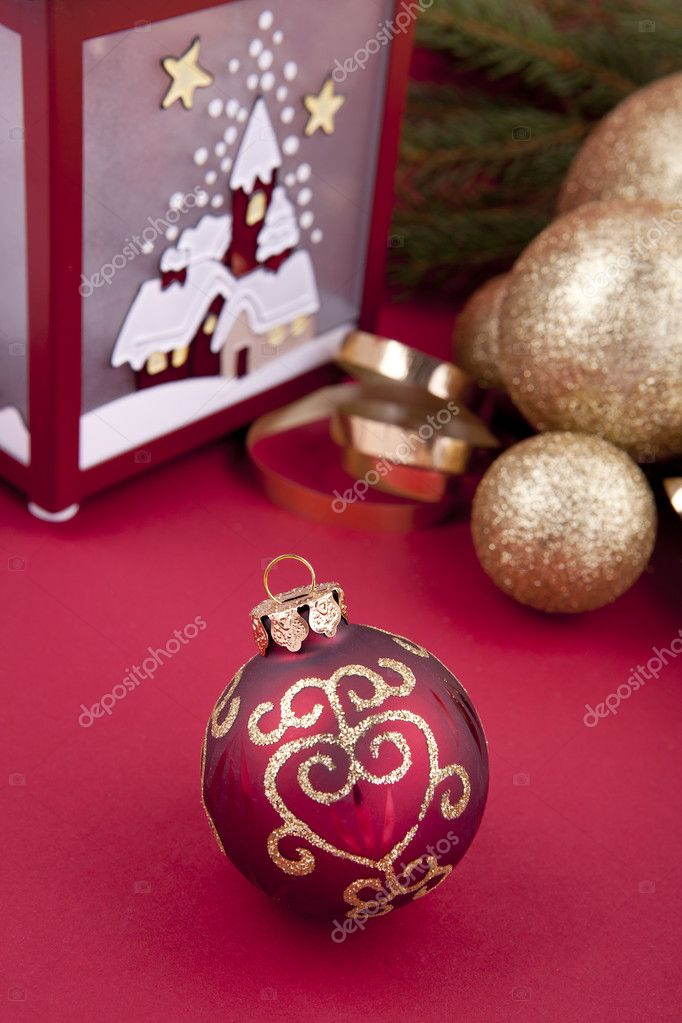 Beautiful christmas decoration in gold and red color with tree and lamp  Stock Photo #11918461