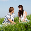 Stock Photo: Young couple outdoor in summer on blanket in love