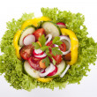 Fresh tasty mixed salad with different vegetables isolated — Stock Photo