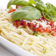 Tatsty fresh spaghetti with tomato sauce and parmesan isolated — Stock Photo #12264781