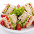 Fresh tasty club sandwich with salad and toast isolated - Stock Photo