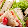 Stock Photo: Fresh tasty club sandwich with salad and toast isolated