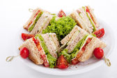 Fresh tasty club sandwich with salad and toast isolated — Stock Photo