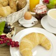 Traditional french breakfast on table in morning — Stock Photo #12292061