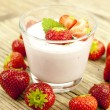 Fresh tasty strawberry yoghurt shake dessert on table — Stock Photo