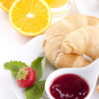 Traditional french breakfast croissant isolated — Stock Photo