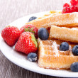 Sweet fresh tasty waffles with mixed fruits isolated — Stock Photo #12293837