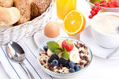 Deliscious healthy breakfast with flakes and fruits isolated — Stock Photo