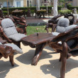 Unusual seating in Calis ,Turkey - Stock Photo