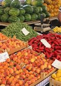 Fresh market produce of fruit and vegetables — Stock Photo