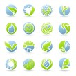 Drops and leaves. Vector logo template set. — Stock Vector #11582255