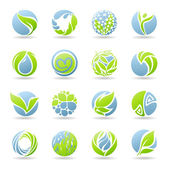 Drops and leaves. Vector logo template set. — Stockvector