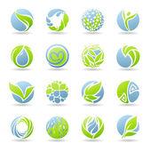 Gotas e folhas. vetor logotipo modelo conjunto. — Vetorial Stock