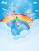Děti v bublinách létání — Stock fotografie