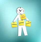 A paper-men with clock head reminding — Stock Vector