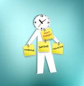 Un papel-hombres con cabeza recordando a reloj — Vector de stock