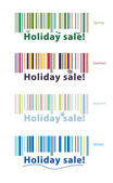 Holiday sale, Barcode with different sale seasons, Colourful barcodes — Stock Vector
