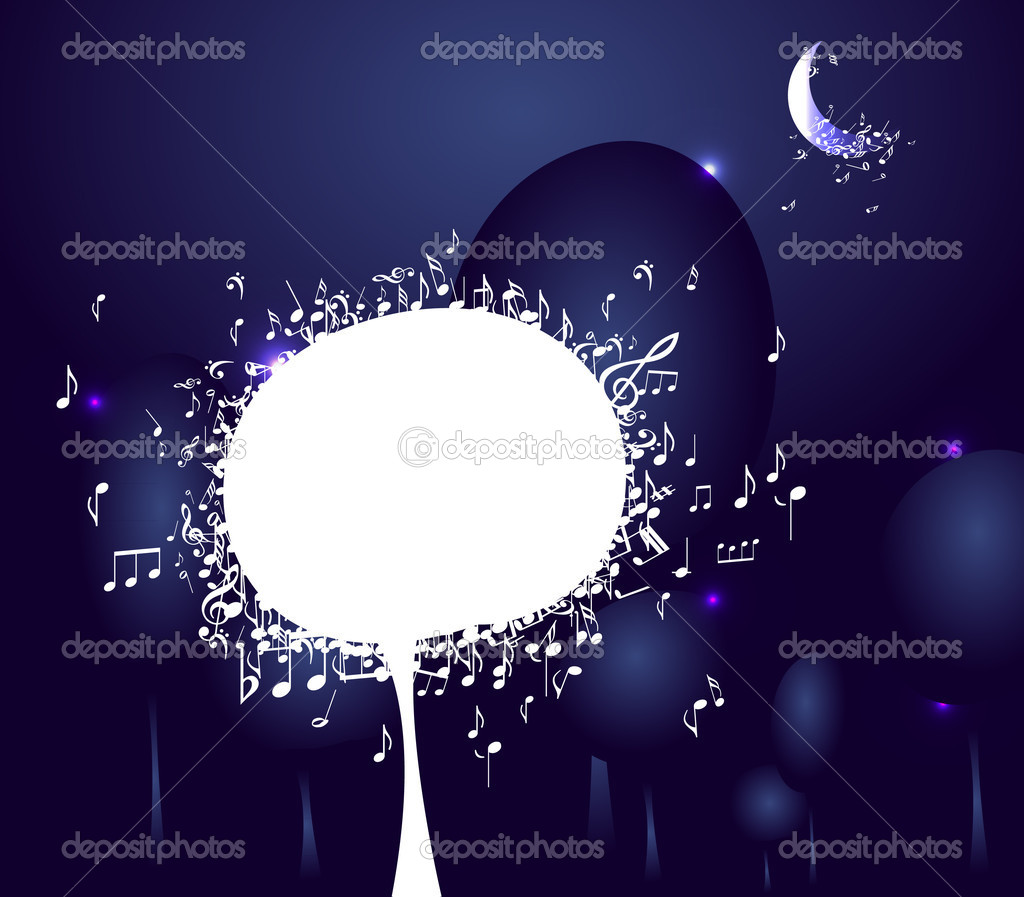 Musical tree in night forest, Abstract background  — Stock Vector #12035264