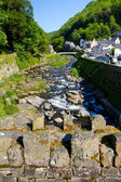 A view from the bridge in Lynmouth in Devon England — Stock Photo