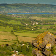 Stock Photo: View from Crook Peak towards Cheddar Reservoir in Somerset England